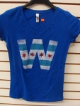 Chicago Cubs Ladies V-neck W T-shirt With Chicago Flag