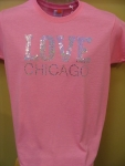 Love Chicago Sequined Pink T-shirt