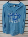 Chicago Blue Long Sleeve Hooded T-shirt
